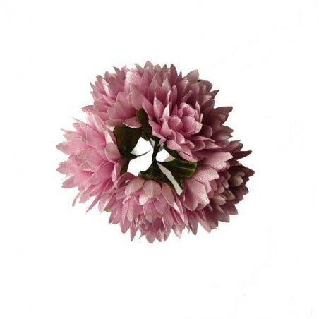 Букетик хризантем 3 см, цвет светло-розовый (5 штук)