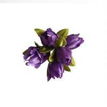 Букетик тюльпанов 1 см, цвет сиреневый (5 штук)