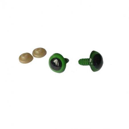 Пластиковые безопасные глаза 12 мм., цвет зеленый (пара)
