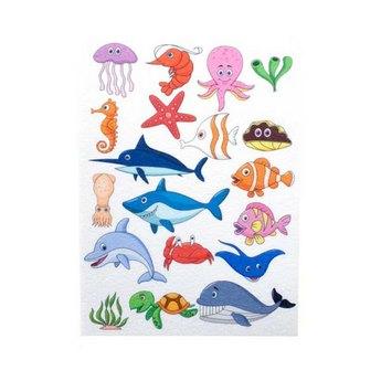"""Фетр жесткий с рисунком 1,2мм """"Морские животные"""" 20х27см"""