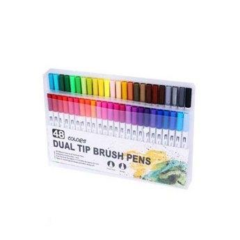 """Набор двусторонних маркеров-линеров """"DUAL TIP BRUSH PENS"""", 48 цветов"""