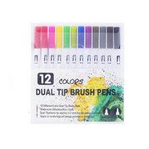 """Набор двухсторонних маркеров-линеров """"DUAL TIP BRUSH PENS"""", 12 цветов"""