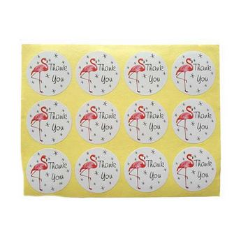 "Наклейки на листе круглые ""Thank you"" Фламинго d 3,8 см, 12 штук"