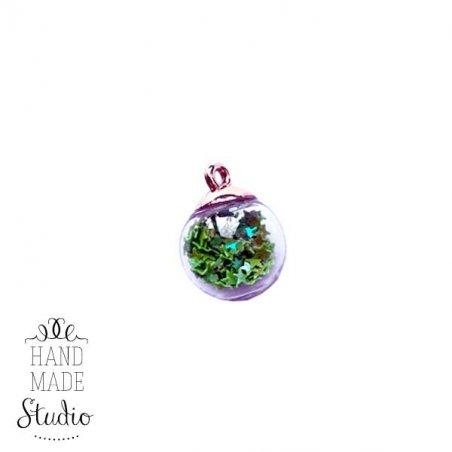 """Кулон-підвіска """"Скляна куля"""" світиться в темряві із зеленими блискітками, 21х16 мм (1 шт)"""