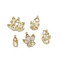 """Набор металлических рамочек (сеттинги) под заливку эпоксидной смолой """"Кристаллы"""" (золото), 5 шт."""