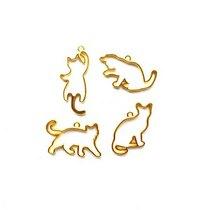"""Набор металлических рамочек (сеттинги) под заливку эпоксидной смолой """"Котики"""" (золото), 4 шт."""