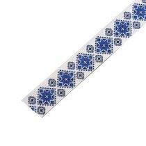 """Репсовая лента с рисунком """"Синий орнамент"""" 2,5 см, 1м"""