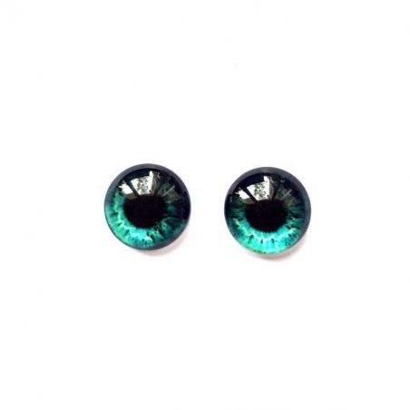 Глазки стеклянные для кукол №77226 (пара), 8 мм, цвет бирюзовые