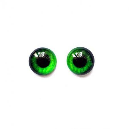 Глазки стеклянные для кукол №77225 (пара), 8 мм, цвет малахитовый