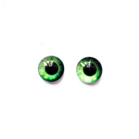 Глазки стеклянные для кукол №77220 (пара), 8 мм, цвет зеленый
