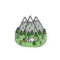 """Металлический значок """"Горы и поляна"""", 2,5х2,5 см"""
