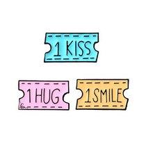 """Набор металлических значков """"1 SMILE/1 KISS/1 HUG"""", 2,5х1,9 см (3 штуки)"""