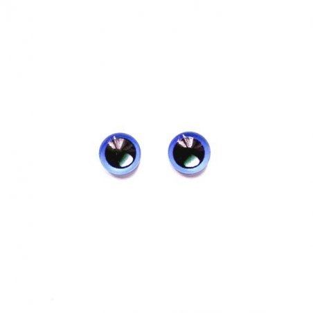 Глаза стеклянные для кукол с бликом, 8 мм,  цвет синий (пара)