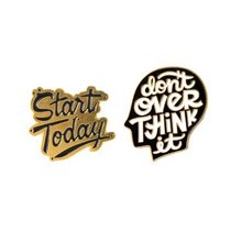 "Набор металлических значков ""Start Today/Don't over think it"" ( 2 штуки )"