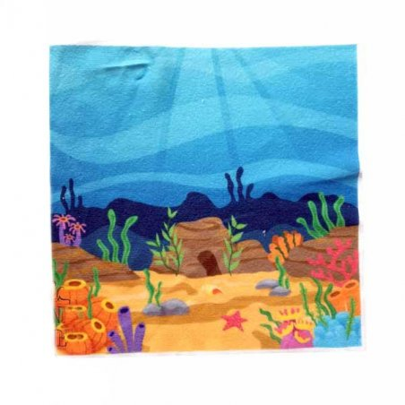 """Велькро-ткань (полотно-липучка) с рисунком """"Морское дно"""", 19,5х19,5 см"""