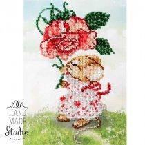 """Схема для вишивки бісером """"Мишка з квіточкою"""" Т-0547, 15х21 см"""