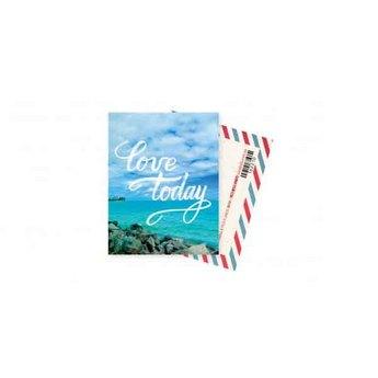 """Міні листівка """"Love today"""" + крафт конверт 10х7,5 см"""