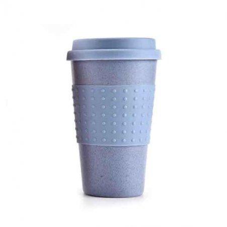 Чашка-тумблер (эко чашка) из биопластика, цвет голубой
