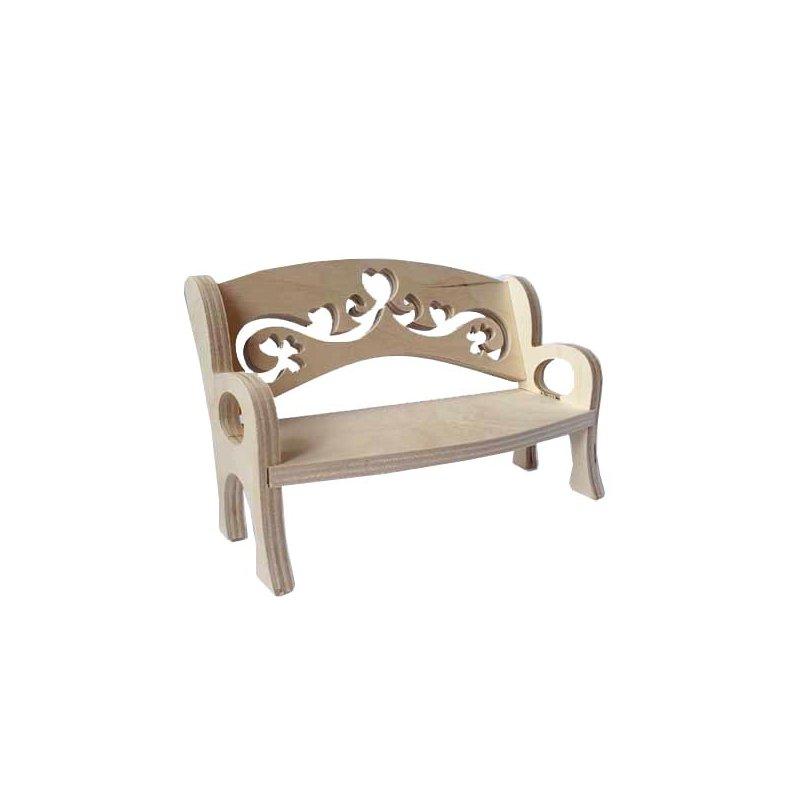 """Кукольная мебель """"Лавка фигурная"""", 21х12х10 см"""