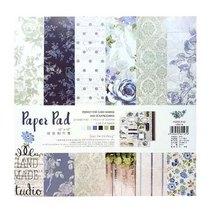 """Набор односторонней дизайнерской бумаги """"Blue flowers"""" 25,5х25,5 см, 24 листа+2 листа с высечками"""