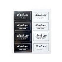 "Наклейки-бирки черно-белые на листе ""thank you"" 5х2,6 см, 8 штук"