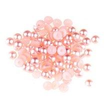 Пластиковые полубусины, нежно-розовый перламутр, 0,8 см, 10 г