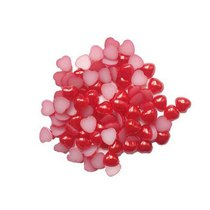 Пластиковые полубусины-сердечки, красный перламутр, 0,8 см, 10 г