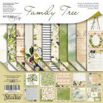 "Набор двусторонней бумаги 20х20см ""Family Tree"", 190г/м2, 10 листов+1 лист с карточками"