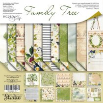 "Набор двусторонней бумаги 30,5х30,5см ""Family Tree"", 190г/м2, 10 листов+ 1 лист с карточками"