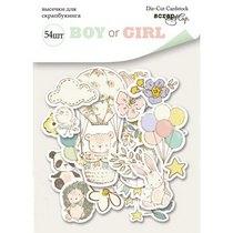"""Набор высечек для скрапбукинга """"BOY or GIRL"""", 54 штуки"""