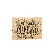 """Силиконовый штамп на деревянном блоке """"I am really Mermaid"""""""