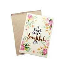 """Открытка деревянная с крафт-конвертом """"a Simple life is a Beautiful life"""", 10,5х15 см"""