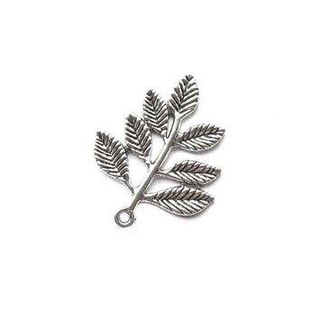 Серебряная металлическая подвеска Листик большой (тибетское серебро), 2,8х3,5 см