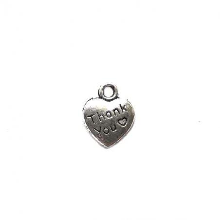 Двухсторонняя металлическая подвеска Сердце Thank you, 1*1,3 см