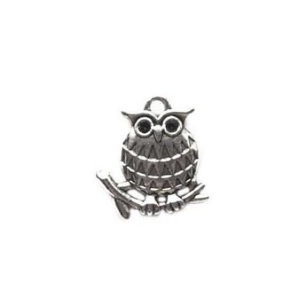 Двухсторонняя серебряная металлическая подвеска Сова на веточке, 1,8*1,8 см