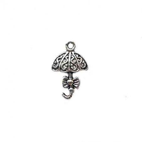 Двухсторонняя серебряная металлическая подвеска Зонт раскрытый, 1,3*2 см