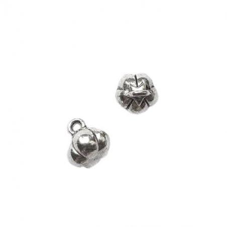 Двухсторонняя серебряная металлическая подвеска Тыква объемная, 0,8*1 см
