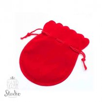 Мешочек бархатный на затяжке, 7х9 см, цвет - красный