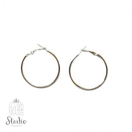 Серьги кольца, цвет - сталь, 3 см