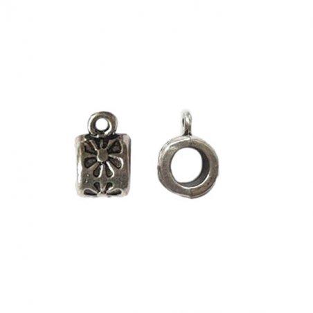 Бейл №14 с цветочком, цвет - античное серебро, 1 штука