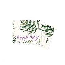 """Мини открытка """"Happy Birthday green""""+ крафт конверт 10х7,5 см"""