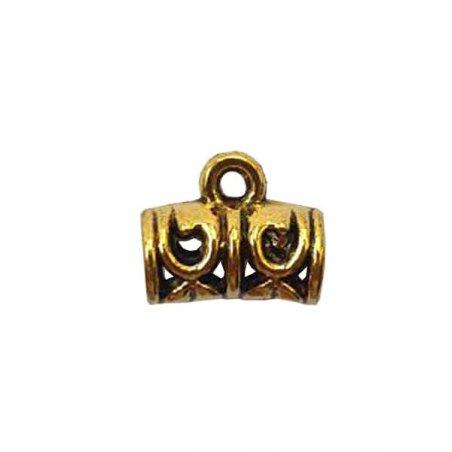 "Бейл №23 ""Трубка"" 9х11,5х5мм, цвет античное золото, 1шт"