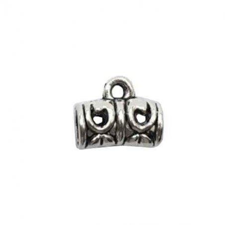 """Бейл №24 """"Трубка"""" 9х11,5х5мм, цвет античное серебро, 1шт"""