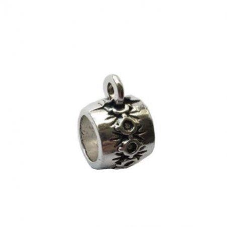 "Бейл №30 ""Бочонок "" 15х11х10мм, цвет античное серебро, 1шт"