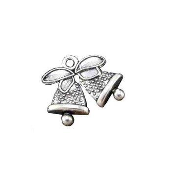 Двухсторонняя серебряная металлическая подвеска Колокольчики, 1,6х1,4 см