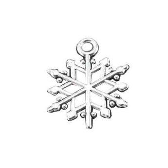 Двухсторонняя серебряная металлическая подвеска Снежинка №8, 2х1,5 см