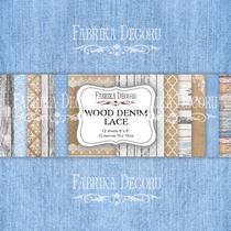"""Набор двусторонней фоновой бумаги 15х15 см """"Wood Denim Lace"""" 12 листов"""