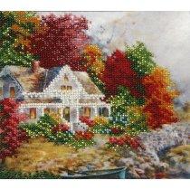"""Схема для вышивки бисером """"Домик в саду"""" Т-0285, 16х15 см"""