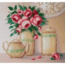 """Схема для вышивки бисером """"Розы и фарфор"""" Т-0031, 20х19 см"""