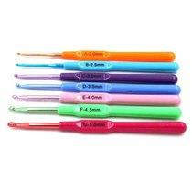 Крючок для вязания алюминиевый с пластиковой ручкой 2.0 mm, длина 14 см